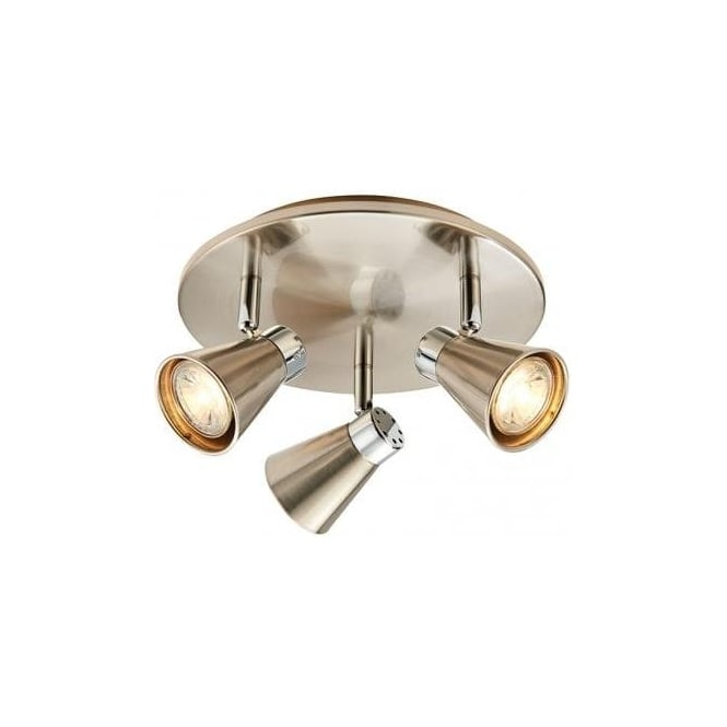 Endon lighting hyde triple light led ceiling spotlight fitting in hyde triple light led ceiling spotlight fitting in satin nickel and polished chrome finish mozeypictures Gallery