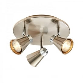 Hyde Triple Light LED Ceiling Spotlight Fitting In Satin Nickel And Polished Chrome Finish