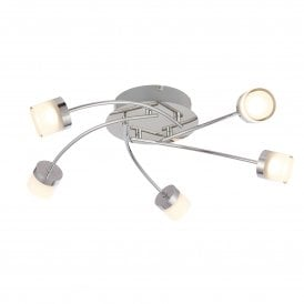 Ikos 5 Light LED Semi Flush Bathroom Ceiling Fitting In Polished Chrome Finish With Clear And Frosted Acrylic Shade