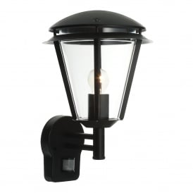 Inova Single Light Outdoor PIR Wall Fitting in Matt Black Finish and Clear Acrylic