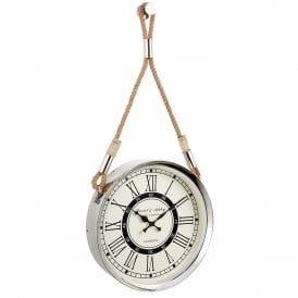Kramer Hanging Wall Clock in Polished Nickel Plated Finish with Natural Rope