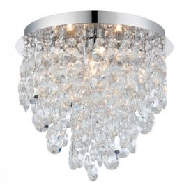 Kristen 3 Light Bathroom Crystal Ceiling Fitting In Polished Chrome finish