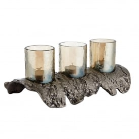 Langport Tealight Holder in Antique Nickel Effect with Smokey Brown Lustre Glass