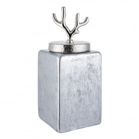 Larsen Large Jar in Silver Foil Glass and Hammered Nickel Plate