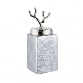Larsen Medium Jar in Silver Foil Glass and Hammered Nickel Plate