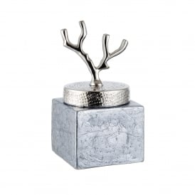 Larsen Small Jar in Silver Foil Glass and Hammered Nickel Plate