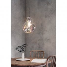Lava Single Light Ceiling Pendant in Polished Chrome Finish with Iridescent Glass Shade