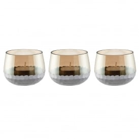 Lima Set of 3 Small Tealight Holders in Smokey Brown Lustre Glass & Matt Silver Paint