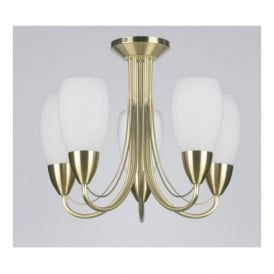 Low Energy 5 Light Fitting In Satin Brass Or Satin Chrome