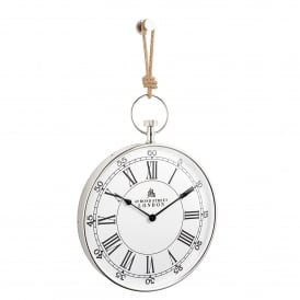 Marshall Hanging Wall Clock in Polished Nickel Plated Finish