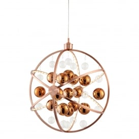 Muni Large LED Ceiling Pendant in Copper Finish with Glass Ball Detail