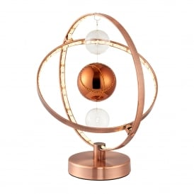 Muni LED Table Lamp in Copper Finish with Glass Ball Detail