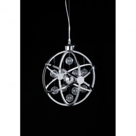 Muni Medium LED Ceiling Pendant in Polished Chrome with Glass Ball Detail