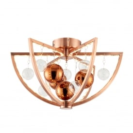 Muni Single LED Flush Ceiling Fitting in Copper Finish with Glass Ball Detail