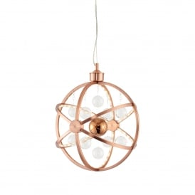 Muni Small LED Ceiling Pendant in Copper Finish with Glass Ball Detail
