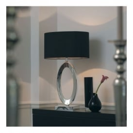 Nerino Single Light Cast Metal Table Lamp In Silver Plated Finish With Silk Black Shade