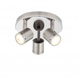 Oracle 3 Light LED Ceiling Spot Light Fitting In Brushed And Polished Nickel Finish