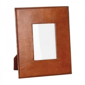 Oswald Small Photo Frame In Tan Leather Finish