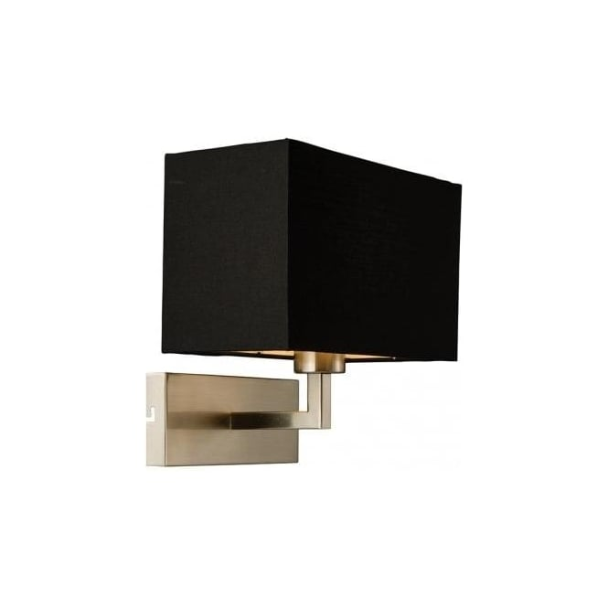 Endon lighting piccolo single light switched wall fitting in satin piccolo single light switched wall fitting in satin nickel finish with black cotton shade aloadofball Image collections