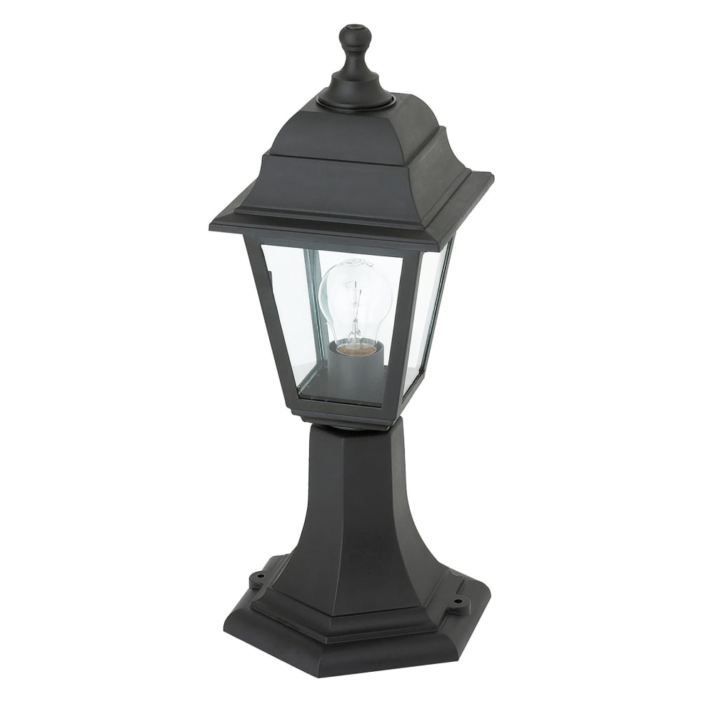 Pimlico Wall Lamp In Glass : Endon Lighting Pimlico Single Light Outdoor Post Light in Black Finish with Clear Glass ...