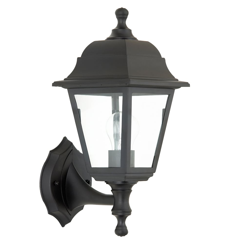 Pimlico Wall Lamp In Glass : Endon Lighting Pimlico Single Light Outdoor Wall Fitting in Black Finish with Clear Glass ...