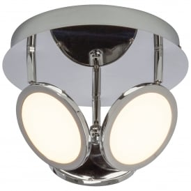 Pluto 3 LED Dimmable Round Ceiling Fitting in Chrome Plated Finish