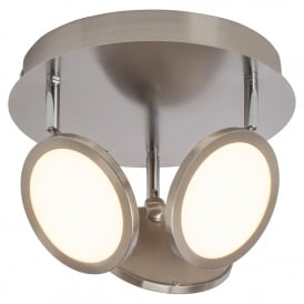 Pluto 3 LED Dimmable Round Ceiling Fitting in Satin Nickel Finish