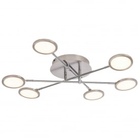 Pluto 6 LED Dimmable Semi Flush Ceiling Fitting in Satin Nickel Finish