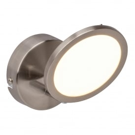 Pluto Single LED Dimmable Ceiling Spotlight Fitting in Satin Nickel Finish