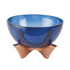 Radstock Medium Bowl in Blue Glass and Satin Copper Plate Finish