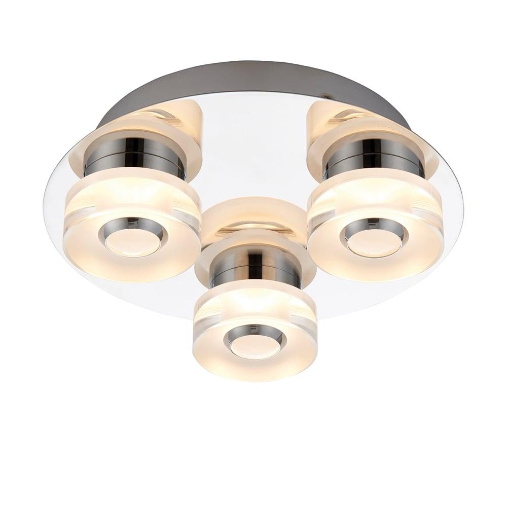 Endon Bathroom Ceiling Lights endon lighting rita 3 led dimmable flush bathroom ceiling fitting