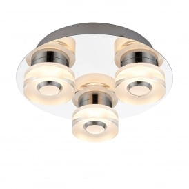 Rita 3 LED Dimmable Flush Bathroom Ceiling Fitting In Chrome Plate and Frosted Acrylic