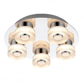 Rita 5 LED Dimmable Flush Bathroom Ceiling Fitting In Chrome Plate and Frosted Acrylic