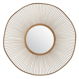Rossner Round Decorative Mirror in Bronze Painted Effect Finish