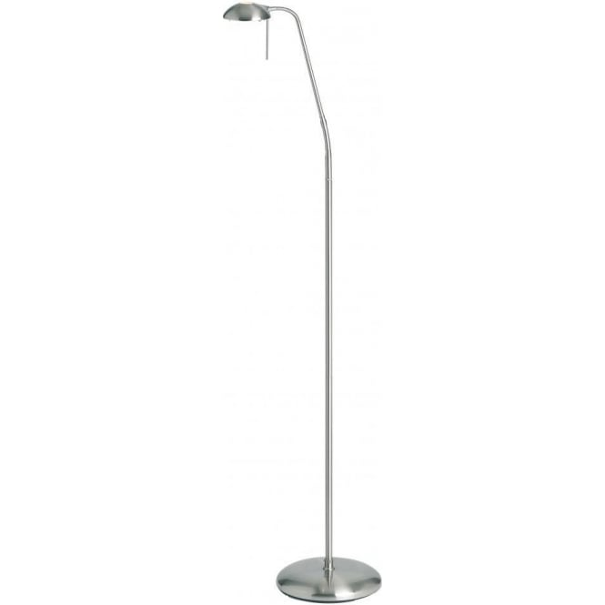 Single light halogen touch operated floor lamp in satin chrome finish