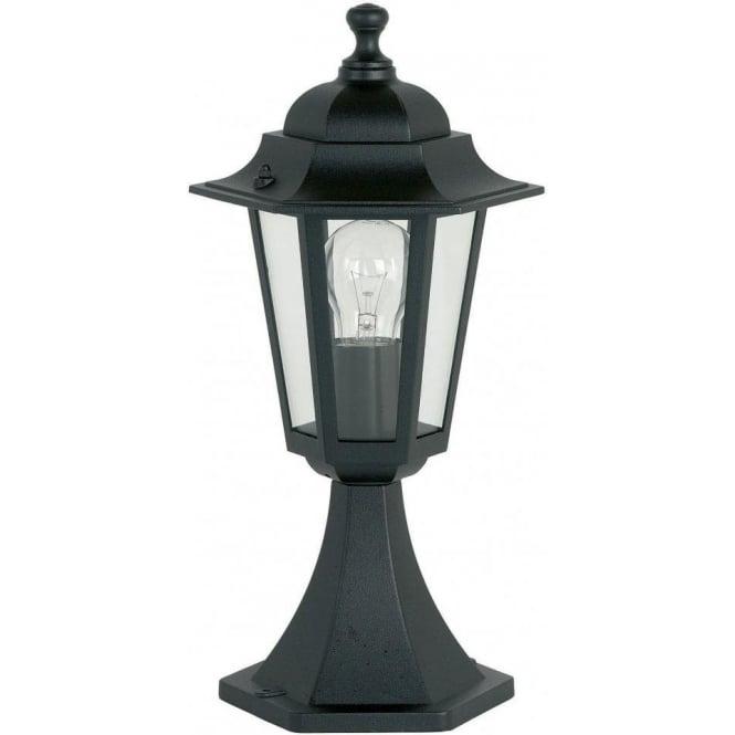 Warwick Pedestal Lantern Light Black: Endon Lighting Single Light Outdoor Pedestal Lantern In