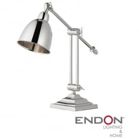 Single Light Polished Nickel Desk Lamp
