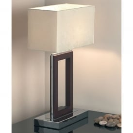 Single Light Table Lamp in Polished Chrome And Dark Wood Finish With Cream Shade