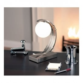 Single Light Touch Operated Desk Lamp In Satin Chrome Finish With Opal Glass Shade