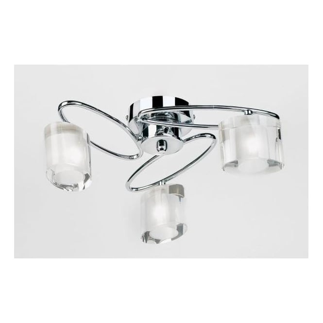 Endon Lighting Sonata 3 Light Halogen Ceiling Fitting With Chrome Oval Arms And Crystal Shades