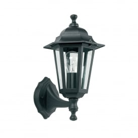 Spengler Single Light Upwards Outdoor Wall Fitting in Matt Black Finish with Clear Glass