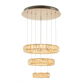 Swayze 3 Ring LED Ceiling Pendant In Brushed Brass Finish With Champagne Faceted Beads