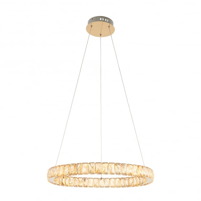 Endon Lighting Swayze LED Ceiling Pendant In Brushed Brass Finish With Champagne Faceted Beads