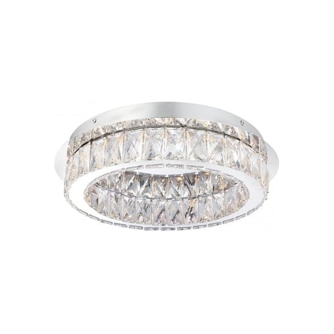 Endon Lighting Swayze LED Flush Ceiling Fitting In Polished Chrome Finish With Clear Faceted Beads