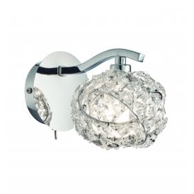 Talia Single Light Wall Fitting in Chrome Finish with Clear Crystal Glass Shade