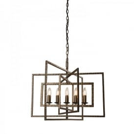 Tibbet 5 Light Ceiling Pendant In Hammered Pewter Painted Finish