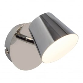 Torsion Single LED Wall Spotlight Fitting in Polished Chrome Finish and Frosted Acrylic