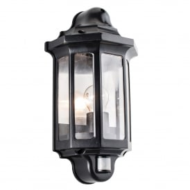 Traditional Single Light Outdoor Half Wall Lantern In Satin Black Finish With Clear Acrylic And PIR Sensor
