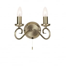 Trafford 2 Light Wall Fitting In Antique Brass Finish