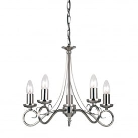 Trafford 5 Light Ceiling Fitting In Antique Silver Finish